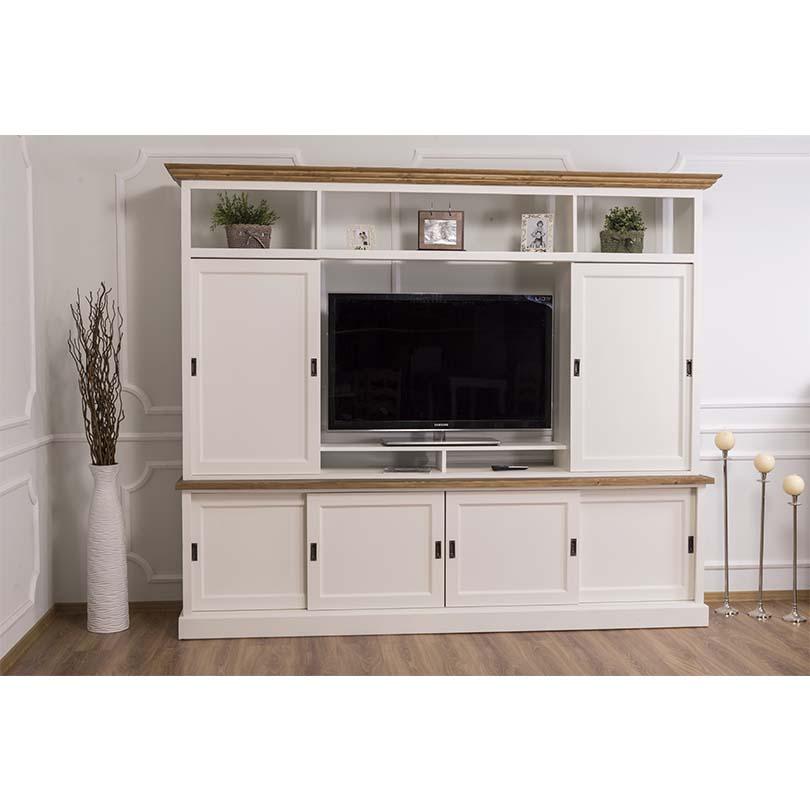 meuble tv en bois massif romane 254x46x210 cm