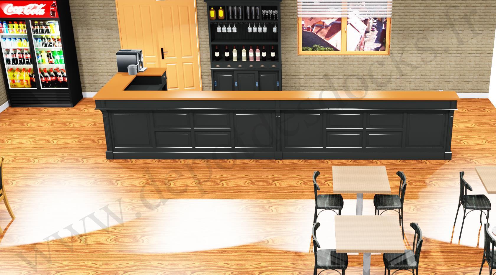 Comptoir Bar D Angle Professionnel Personnalisable En Pin Massif Plateau Zinc 578 168 X78x107cm Depot Des Docks