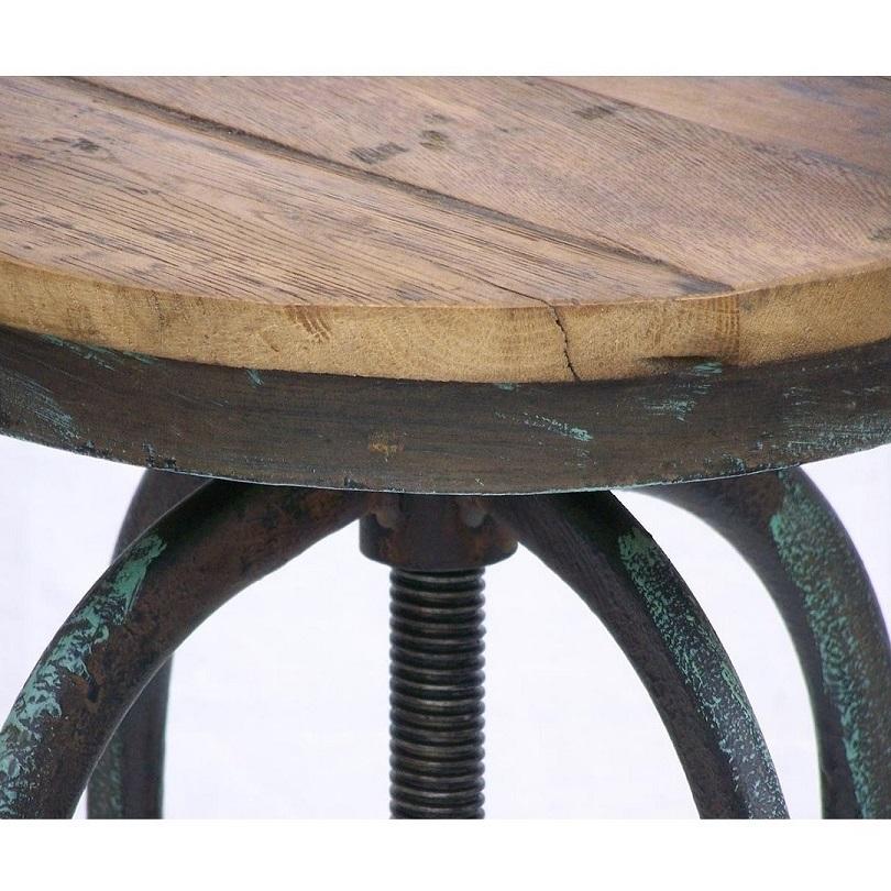 tabouret de bar vintage industriel metal vieux bois reglable