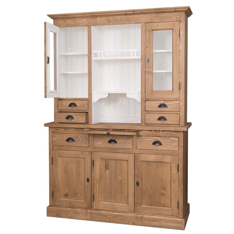 buffet vaisselier en bois massif avec 5 portes 7 tiroirs 137x50x197cm