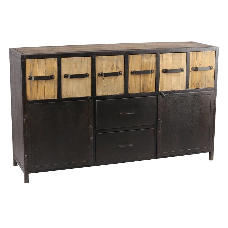 buffet de style industriel en metal et vieux bois 160x45x95 cm