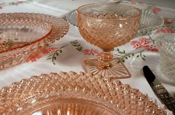 Pink America Depression Glass Tablescape Thursday