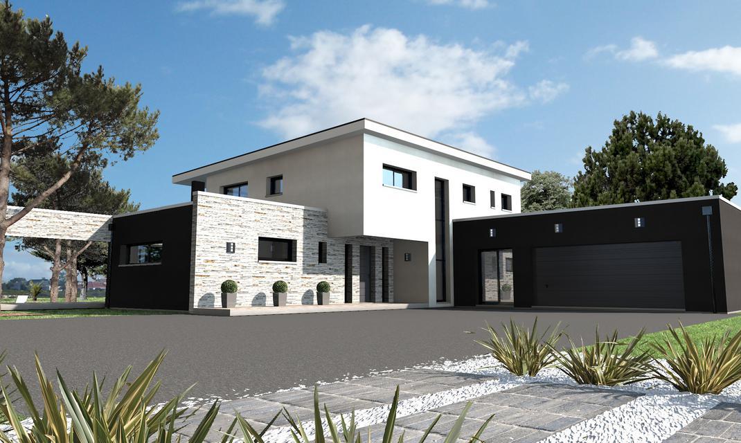 Maison design habillage pierre Vertou  Depreux Construction