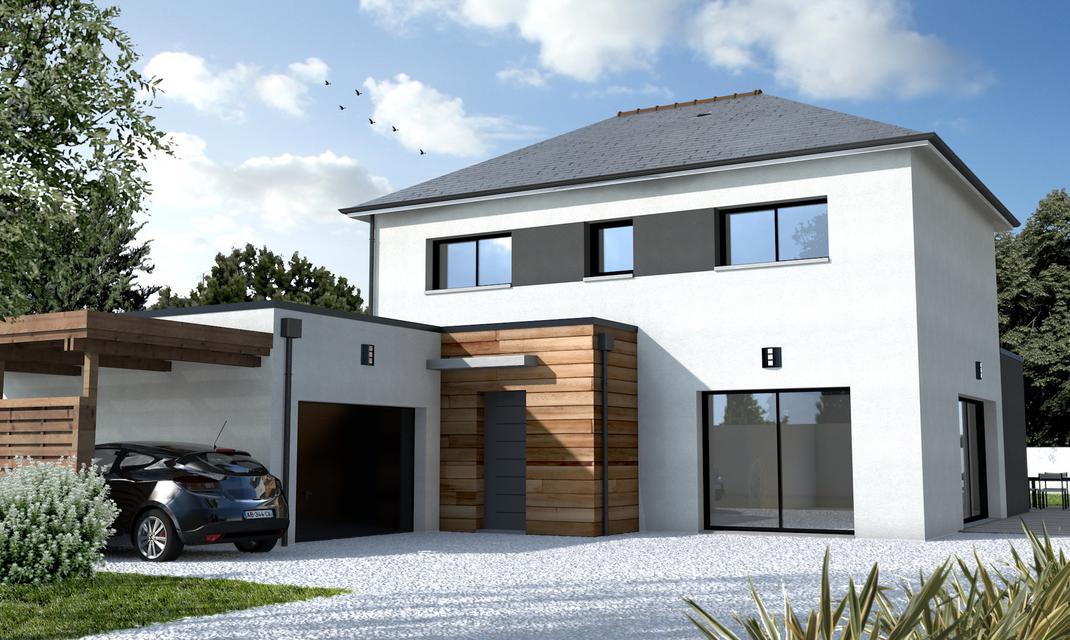 Maison ultra moderne noir et blanc Nantes  Depreux Construction