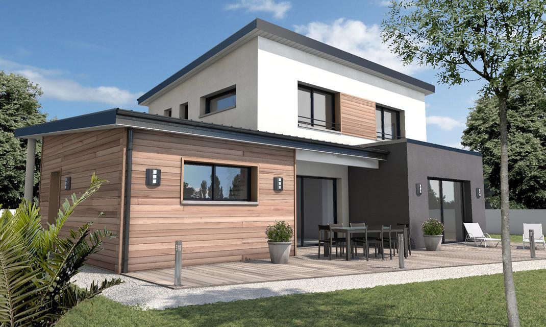 Maison cubique toiture monopente Talmont St Hilaire  Depreux Construction