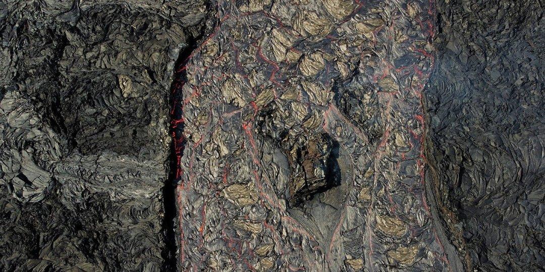 Vista cenital del río de lava