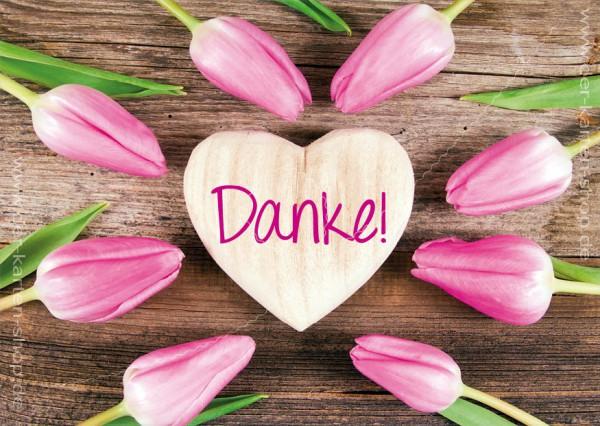Postkarte Grukarte Dankeskarte Tulpen und Holzherz Danke