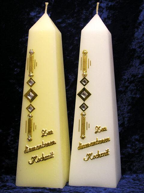 Kerze zur diamantenen Hochzeit Obelisk Diamanten