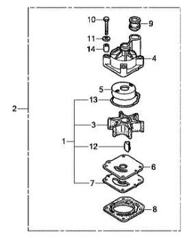 Impeller Reparatursatz für Honda BF 75A / BF 75D/ BF 90A
