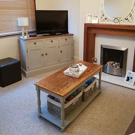 Upcycled painted living room furniture to match