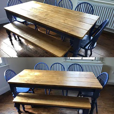 bespoke dining table with reclaimed top painted in blue