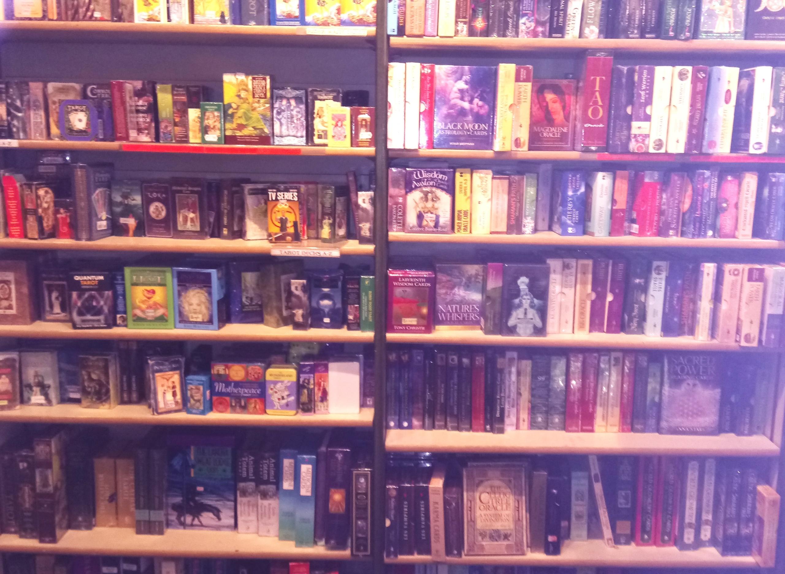 Tarot cards on bookcase