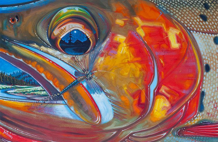 Fresh off the Easel Abstract Cutthroat  Slough Creek