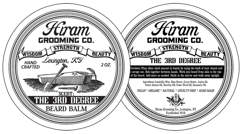Can Label Design for Hiram Grooming Co. of Lexington, KY