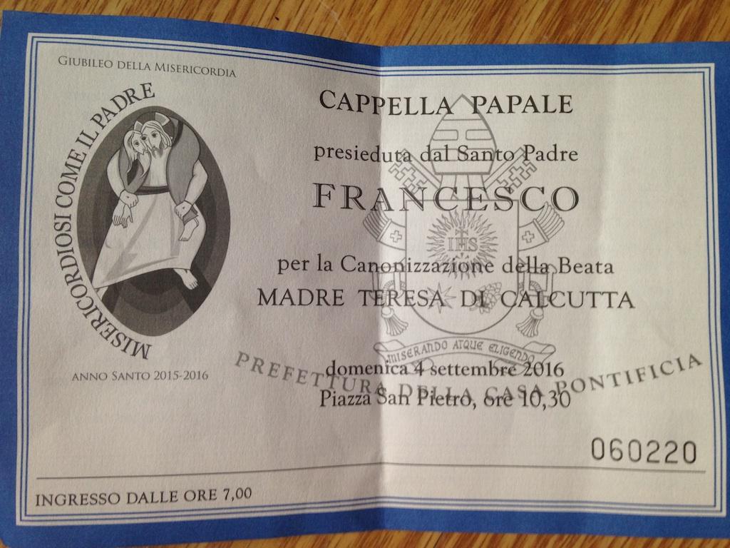 Billet d'accès à la canonisation de mère Thérésa