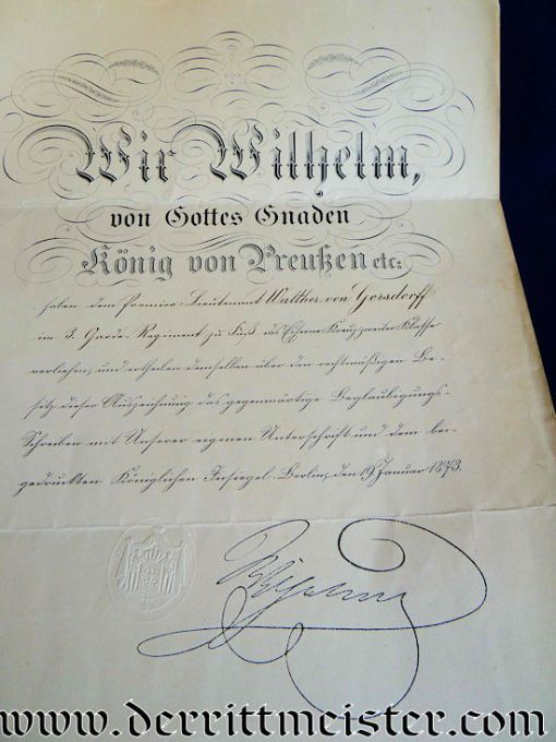 XWB DOCUMENT/DECORATION/PHOTOGRAPH/ARTIFACT GROUP - GENERALLEUTNANT WALTHER WILHELM von GERSDORFF - Imperial German Military Antiques Sale