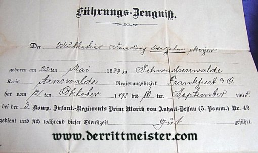 ENLISTED MAN MILITÄRPAß - INFANTERIE-REGIMENT Nr 42 - PRUSSIA - Imperial German Military Antiques Sale