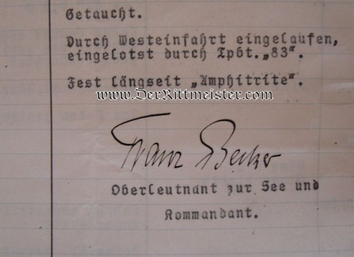 U-BOOT UC 14 KRIEGSTAGBUCH (WAR DIARY) -OBERLEUTNANT zur SEE FRANZ BECKER COMMANDING - Imperial German Military Antiques Sale