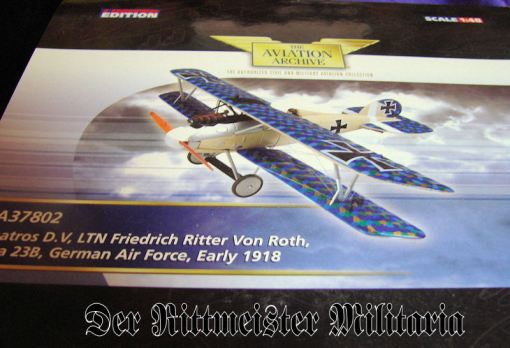 1:48 SCALE DIECAST MODEL - FRIEDRICH RITTER von ROTH'S ALBATROS D. V. - Imperial German Military Antiques Sale