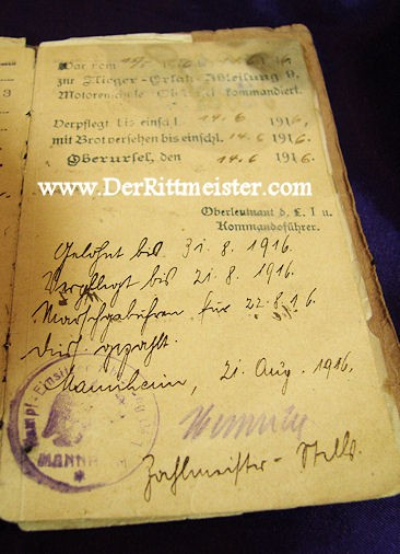 ENLISTED MAN'S SOLDBUCH - FLIEGER-ERSATZ-BATAILLON Nr 1, Nr 4, & Nr 10 - Imperial German Military Antiques Sale