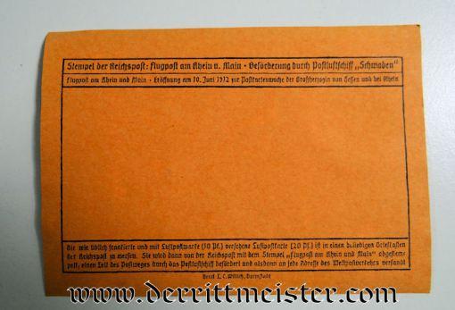 FLOWN PRE WW I AIRMAIL POSTCARD - Imperial German Military Antiques Sale