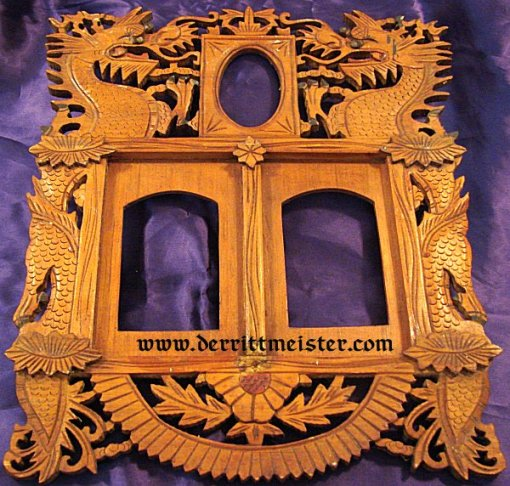 WOODEN FRAME  - HAND CARVED  - COMMEMORATING VETERAN'S EAST ASIA SERVICE - Imperial German Military Antiques Sale