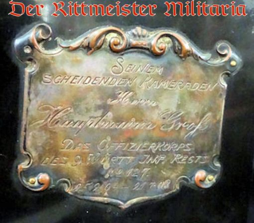 WÜRTTEMBERG - STATUTE - OFFICER'S GIFT FROM INFANTERIE-REGIMENT Nr 127 - Imperial German Military Antiques Sale