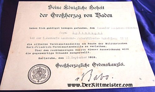 BADEN - AWARD DOCUMENT-SILVER SERVICE MEDAL - Imperial German Military Antiques Sale