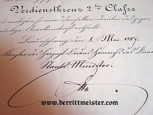 BRAUNSCHWEIG - AWARD DOCUMENT - SERVICE CROSS 2nd CLASS - HENRY THE LION - Imperial German Military Antiques Sale