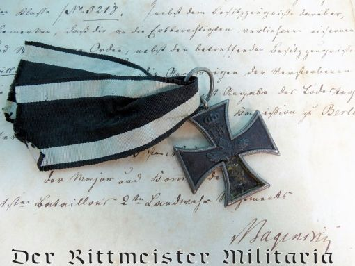 IRON CROSS - 1813 - 2nd CLASS  - WITH DOCUMENTATION, INCLUDING AWARD DOCUMENT - Imperial German Military Antiques Sale