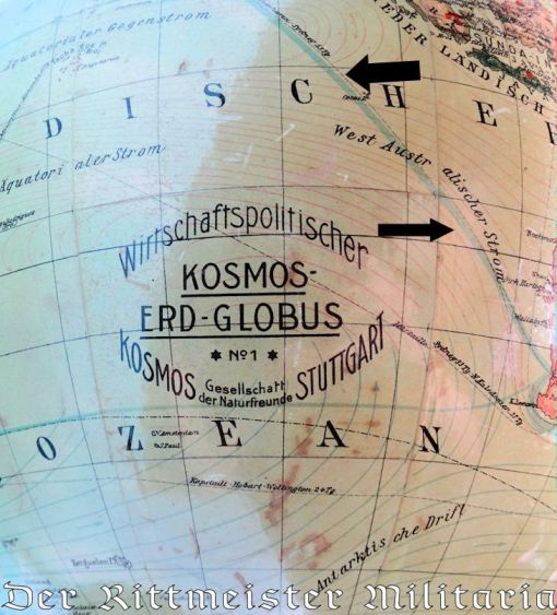 GERMANY - GLOBE - SHOWING GRAF ZEPPELIN'S (LZ-127) VARIOUS ROUTES - Imperial German Military Antiques Sale