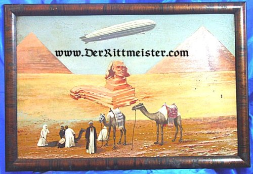 FRAMED PAINTING - ZEPPELIN IN EGYPT - Imperial German Military Antiques Sale