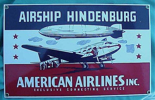 AIRSHIP HINDENBURG/AMERICAN AIRLINES METAL PLAQUE - Imperial German Military Antiques Sale