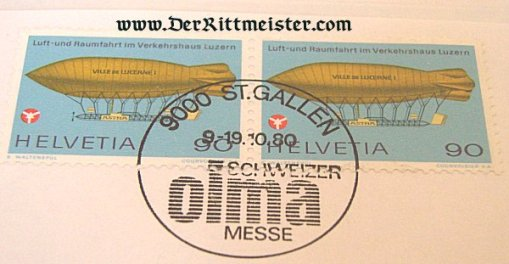 SWITZERLAND - STAMPS - EARLY AIRSHIP - Imperial German Military Antiques Sale