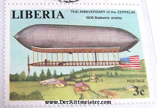 EARLY AIRSHIP POSTAGE STAMP - LIBERIA - Imperial German Military Antiques Sale