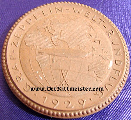 """MEISSEN TABLE MEDAL - GRAF ZEPPELIN """"AROUND THE WORLD VOYAGE"""" - 1929 - Imperial German Military Antiques Sale"""