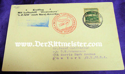 U.S. - ENVELOPE - ZEPPELIN-FLOWN - Imperial German Military Antiques Sale