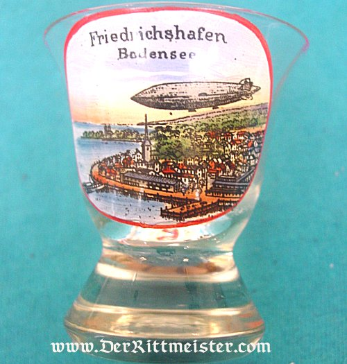GERMANY - SCHNAPPS GLASS - ZEPPELIN MOTIF - Imperial German Military Antiques Sale