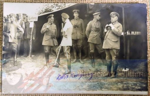 ORIGINAL PHOTOGRAPH OF KRONPRINZ VISITING GENERALS AND OFFICERS AT AIRFIELD - Imperial German Military Antiques Sale