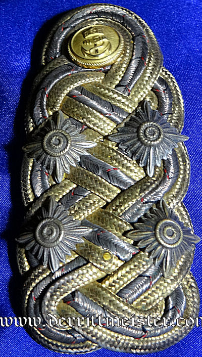 PRUSSIA - SHOULDER BOARD AND POSTCARD - GROßADMIRAL  - ALFRED von TIRPITZ - Imperial German Military Antiques Sale