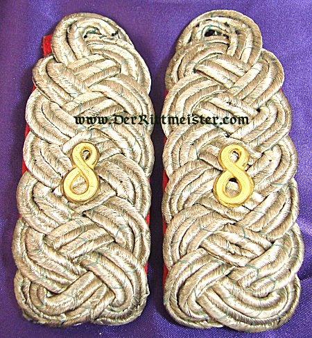 BAVARIA - SHOULDER BOARDS - MAJOR - INFANTERIE-REGIMENT Nr 8 - Imperial German Military Antiques Sale