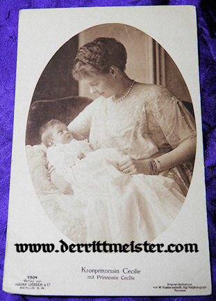 POSTCARD - CROWN PRINCESS CECILIE - DAUGHTER - Imperial German Military Antiques Sale