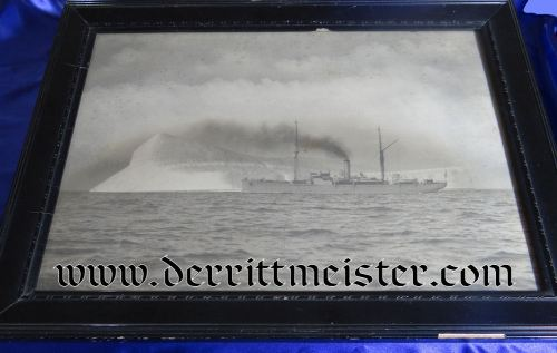 FRAMED PHOTOGRAPH - GERMAN SHIP BY ICEBERG - Imperial German Military Antiques Sale