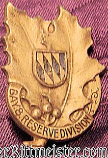 BAVARIA - VETERAN'S BADGE - 8. RESERVE-DIVISION - Imperial German Military Antiques Sale
