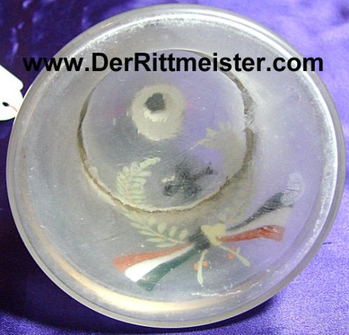 GERMANY - PATRIOTIC ORNAMENT  - FROSTED HAND PAINTED GLASS BELL SHAPED - Imperial German Military Antiques Sale