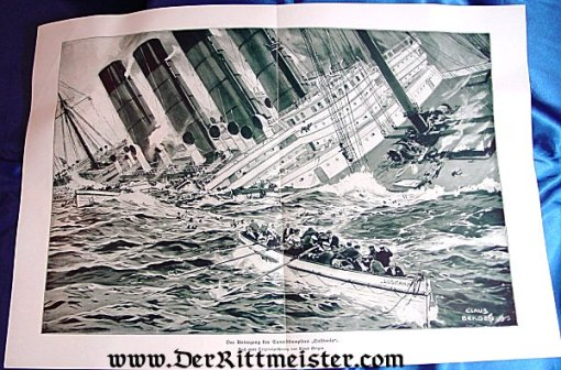 BLACK AND WHITE LITHOGRAPH - SINKING OF THE LUSITANIA - Imperial German Military Antiques Sale