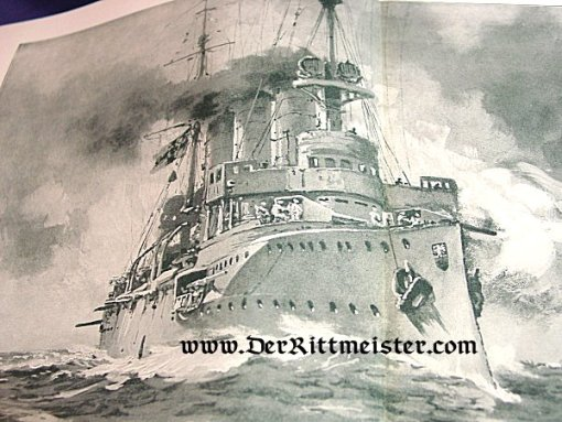 BLACK AND WHITE LITHOGRAPH - S. M. S. EMDEN - Imperial German Military Antiques Sale
