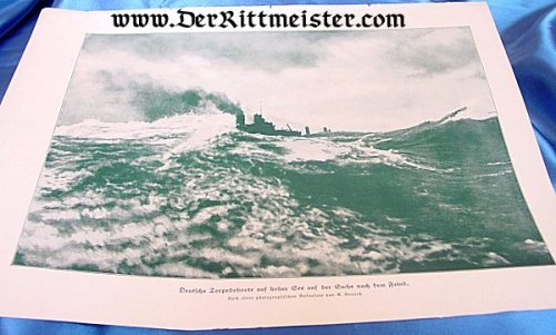 BLACK & WHITE LITHOGRAPH - TORPEDOBOOT IN ACTION - Imperial German Military Antiques Sale