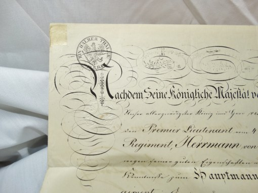 HAUPTMANN'S PROMOTION PATENT SIGNED BY PRUSSIA'S KÖNIG FRIEDRICH WILHELM IV - Imperial German Military Antiques Sale