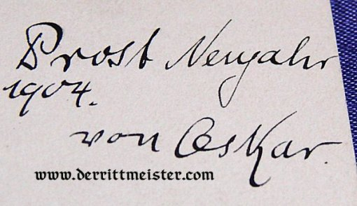 AUTOGRAPHED POSTCARD - PRINZ OSKAR von PREUßEN - Imperial German Military Antiques Sale